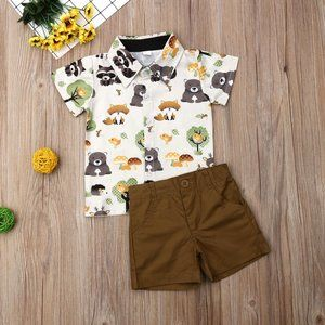 Woodland Animals Fox Bear Button Shirt Boys Outfit